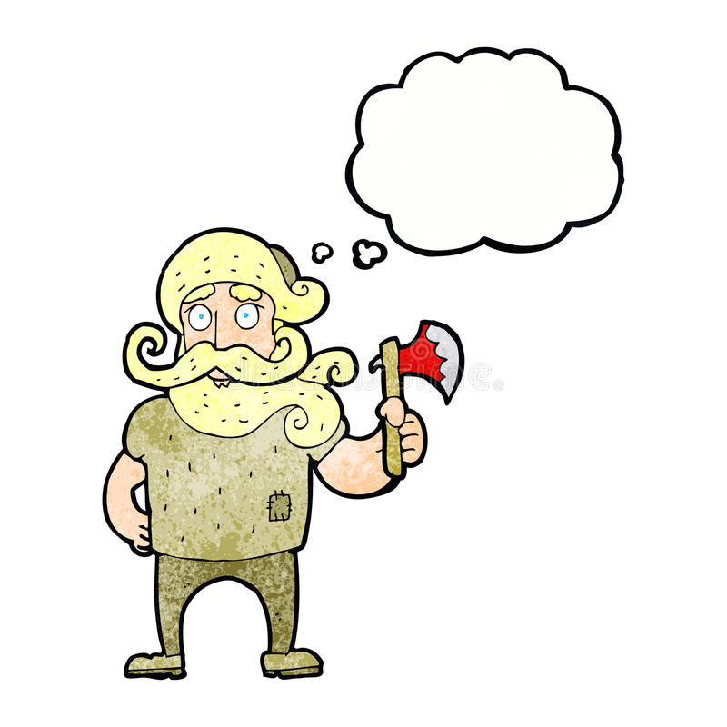 tecknad filmskogsarbetare med yxan med tankebubblan vektor illustrationer