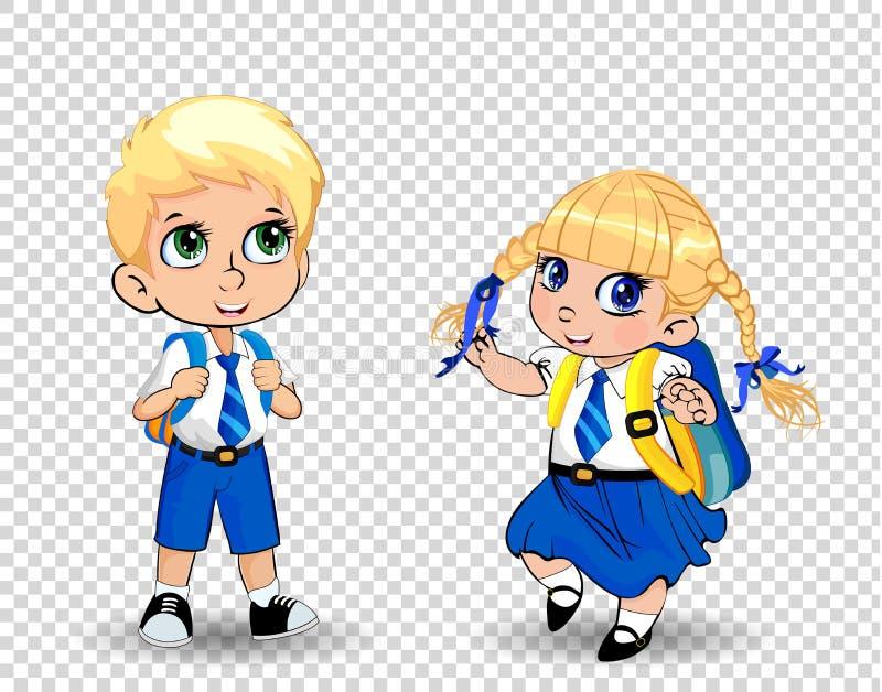 Tecknad filmskolaflicka och bärande likformig för pojke med ryggsäcken på genomskinlig bakgrund royaltyfri illustrationer