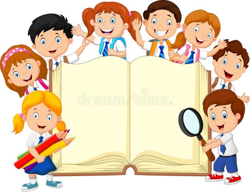 Tecknad filmskolbarn med den isolerade boken royaltyfri illustrationer