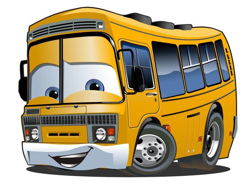 Tecknad filmskolbuss royaltyfri illustrationer
