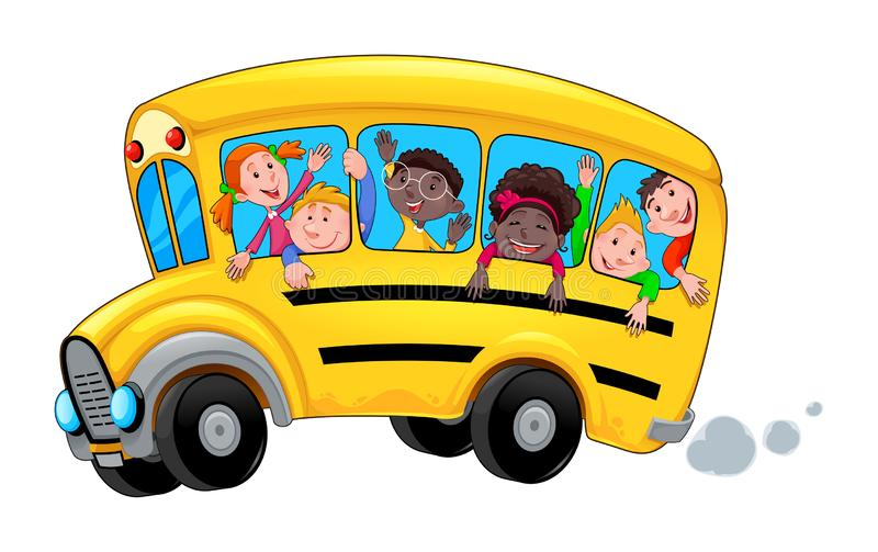Tecknad filmskolbuss med lyckliga barnstudenter royaltyfri illustrationer