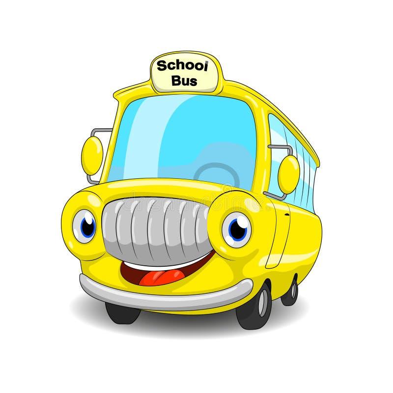 Tecknad filmskolbuss Rolig tecknad filmskolbuss vektor illustrationer