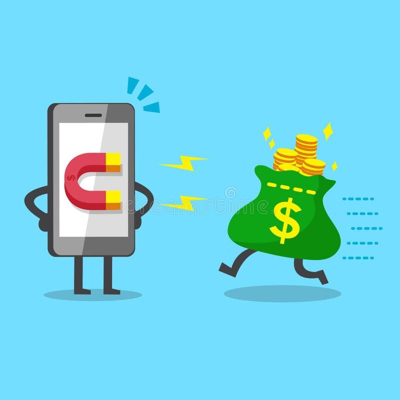 Tecknad filmsmartphonen som använder magnetsymbolen, tilldrar pengarpåsen royaltyfri illustrationer