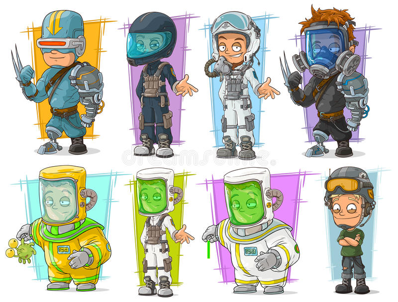 Tecknad filmsoldatforskare med maskeringsteckenet - uppsättning royaltyfri illustrationer