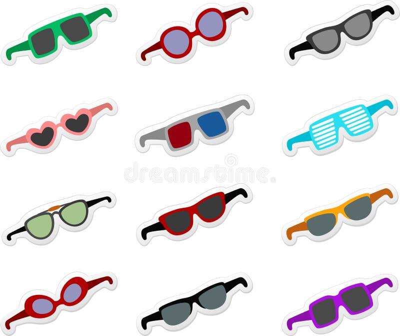 Tecknad filmsolglasögonuppsättning stock illustrationer