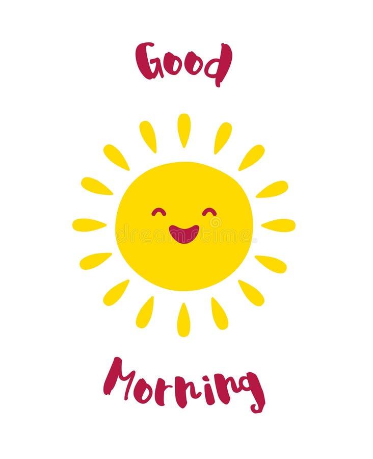 Tecknad filmsolleenden god morgon f r kort vektor vektor - Download god is good all the time ...