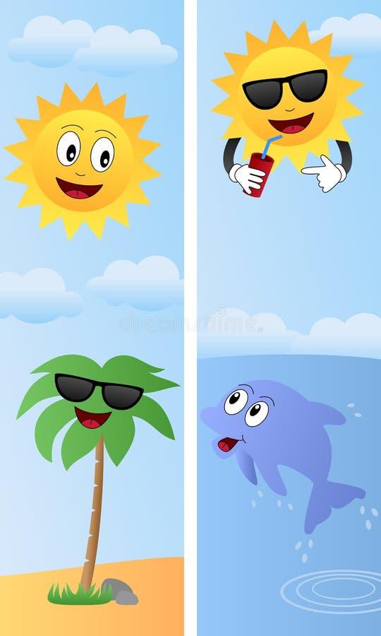 tecknad filmsommar för 2 baner stock illustrationer