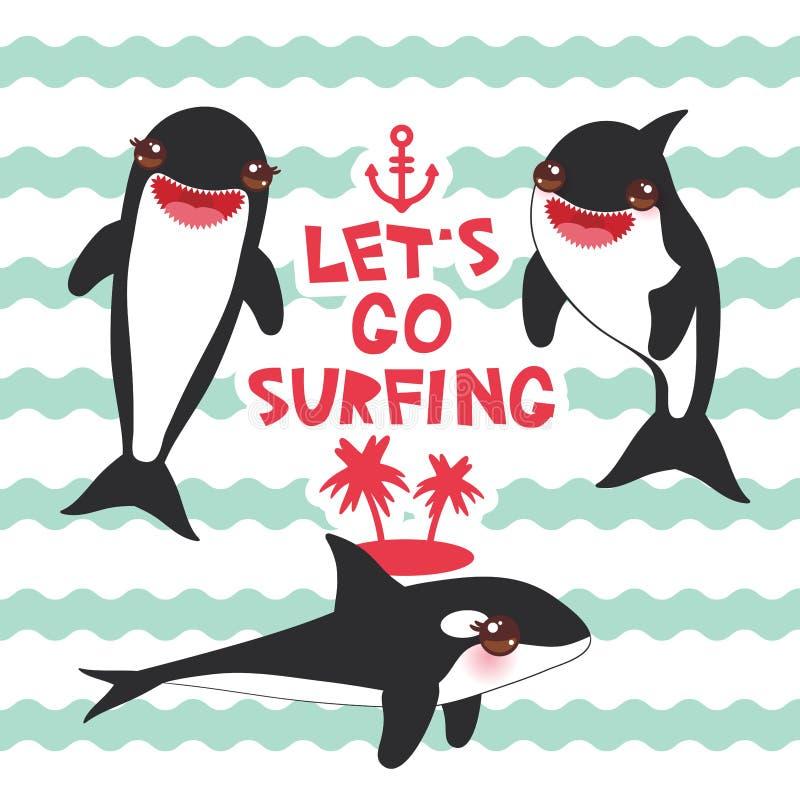 Tecknad filmspäckhuggareuppsättning Lets går att surfa, späckhuggaren, späckhuggaren, havsvargen Kawaii med rosa färgkinder, och  vektor illustrationer