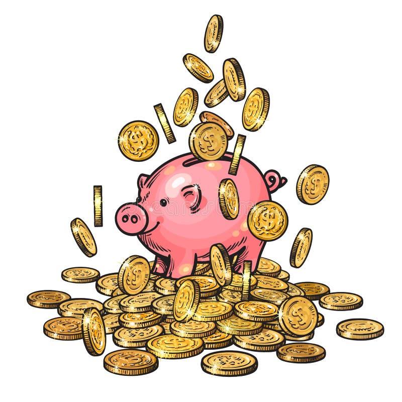 Tecknad filmspargris bland fallande mynt på den stora högen av pengar 2019 kinesiska nya jaröstsymbol tecknad handvektor royaltyfri illustrationer