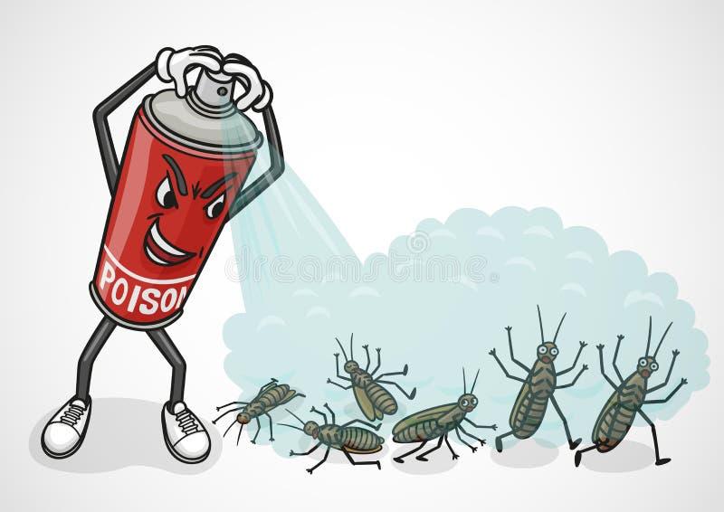 Tecknad filmsprej kan sprejer förgifta på kackerlackor royaltyfri illustrationer