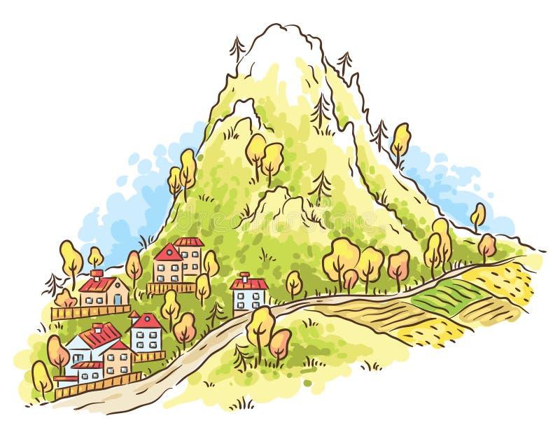Tecknad filmstad på foten av berget stock illustrationer