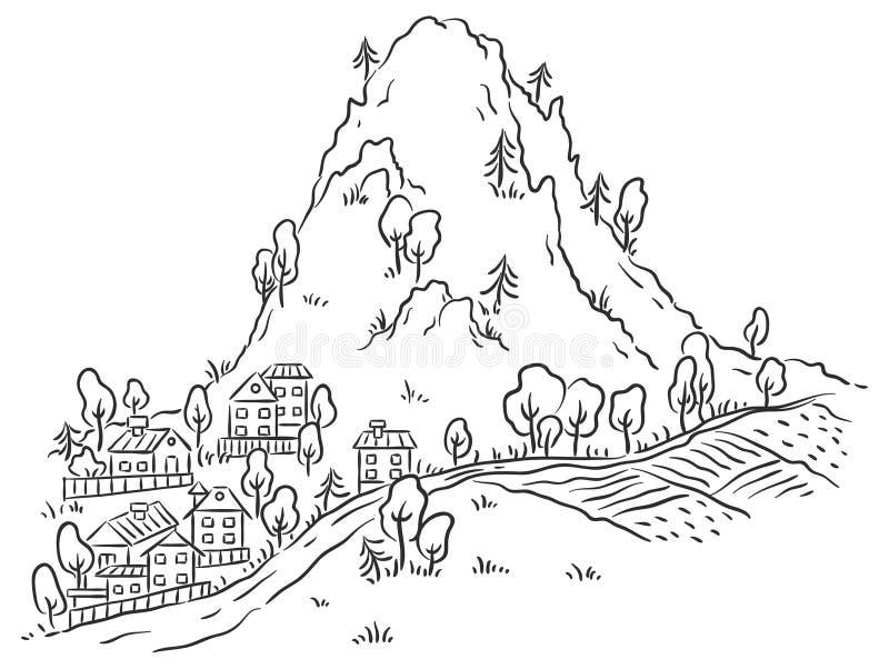 Tecknad filmstad på foten av berget vektor illustrationer