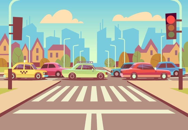 Tecknad filmstadstvärgator med bilar i trafikstockning, trottoar, övergångsställe och stads- landskapvektorillustration stock illustrationer