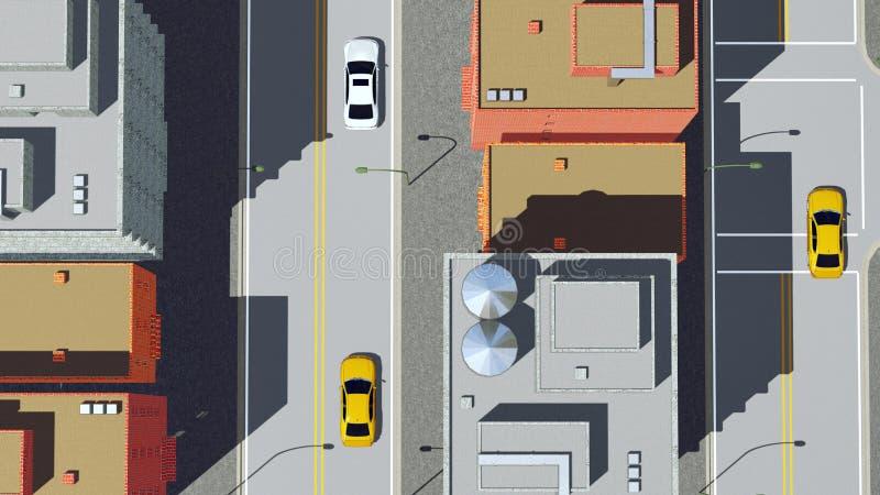Tecknad filmstadsväg med flyg- sikt för bilar royaltyfri illustrationer