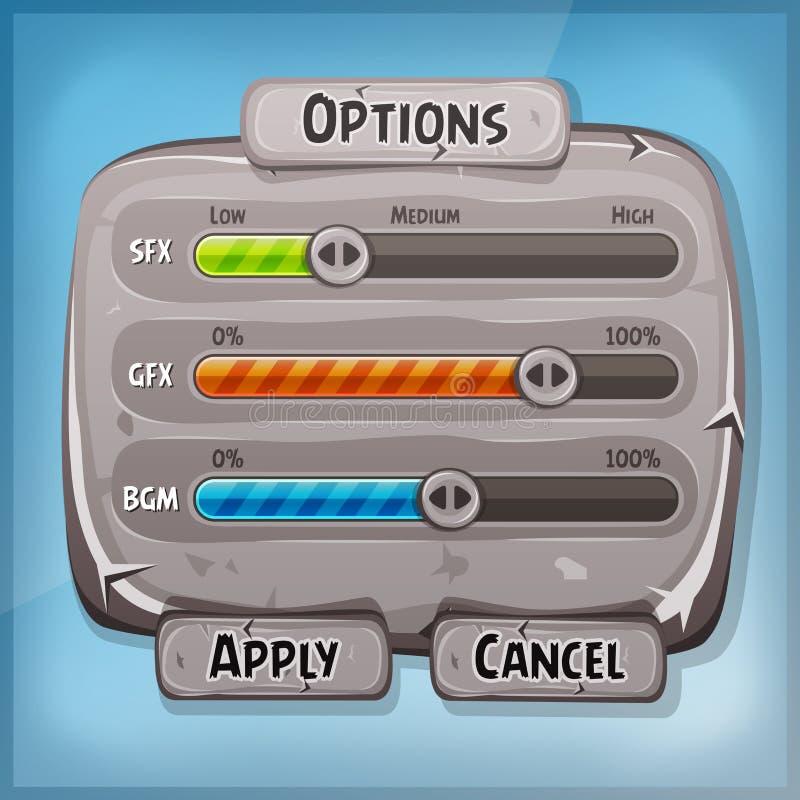 Tecknad filmstenkontrollbord för den Ui leken vektor illustrationer
