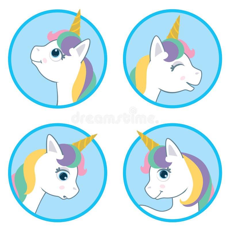 Tecknad filmstil gulliga Unicorn Circle Design Set Vektorillustration som isoleras på vit bakgrund Vitt djurt vektorhuvud w för f royaltyfri illustrationer