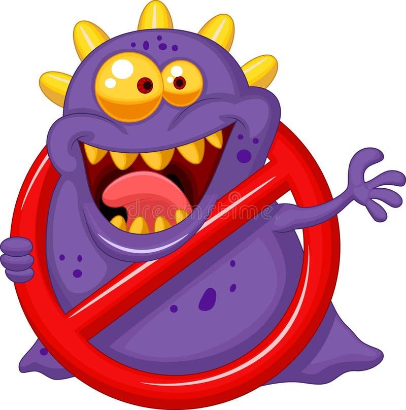 Tecknad filmstoppvirus - purpurfärgad virus i tecken för röd varning vektor illustrationer