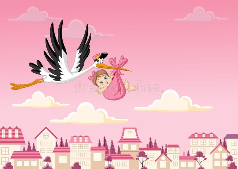 Tecknad filmstork som levererar en behandla som ett barnflicka royaltyfri illustrationer