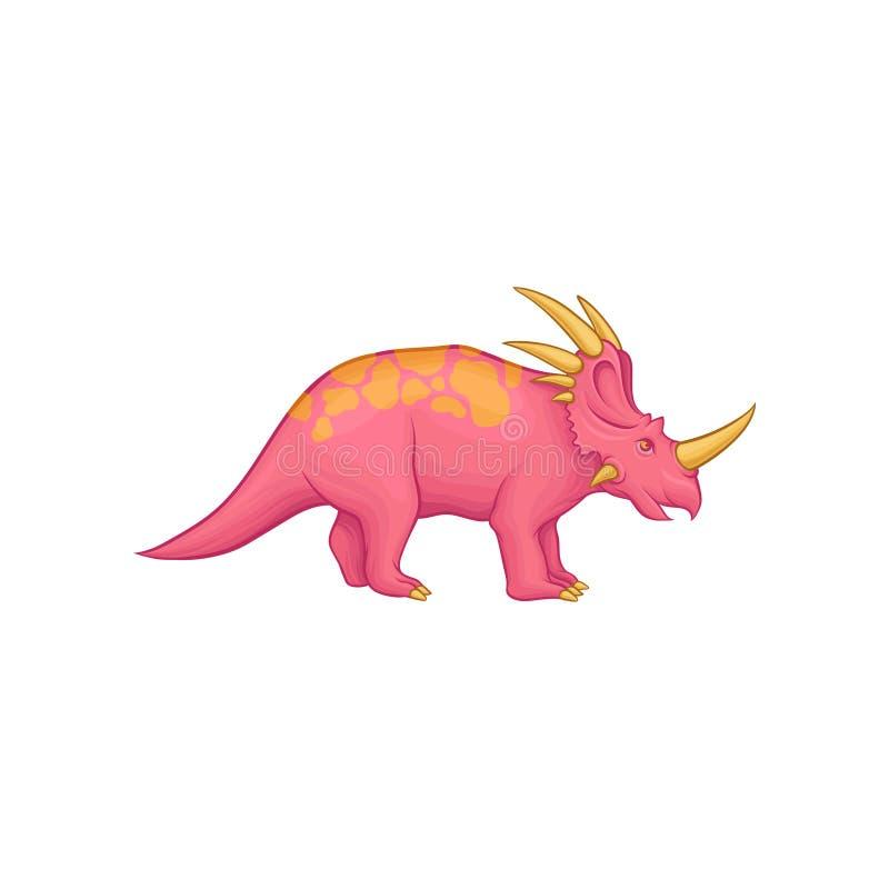 Tecknad filmstyracosaurusdinosaurie Den rosa förhistoriska varelsen med den långa svansen, orange fläckar på baksida, horn på hal vektor illustrationer