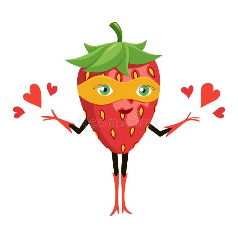 Tecknad filmsuperherojordgubbe i orange maskering Toppen hjälte för rolig frukt white f?r vektor f?r bakgrundsillustrationhaj vektor illustrationer