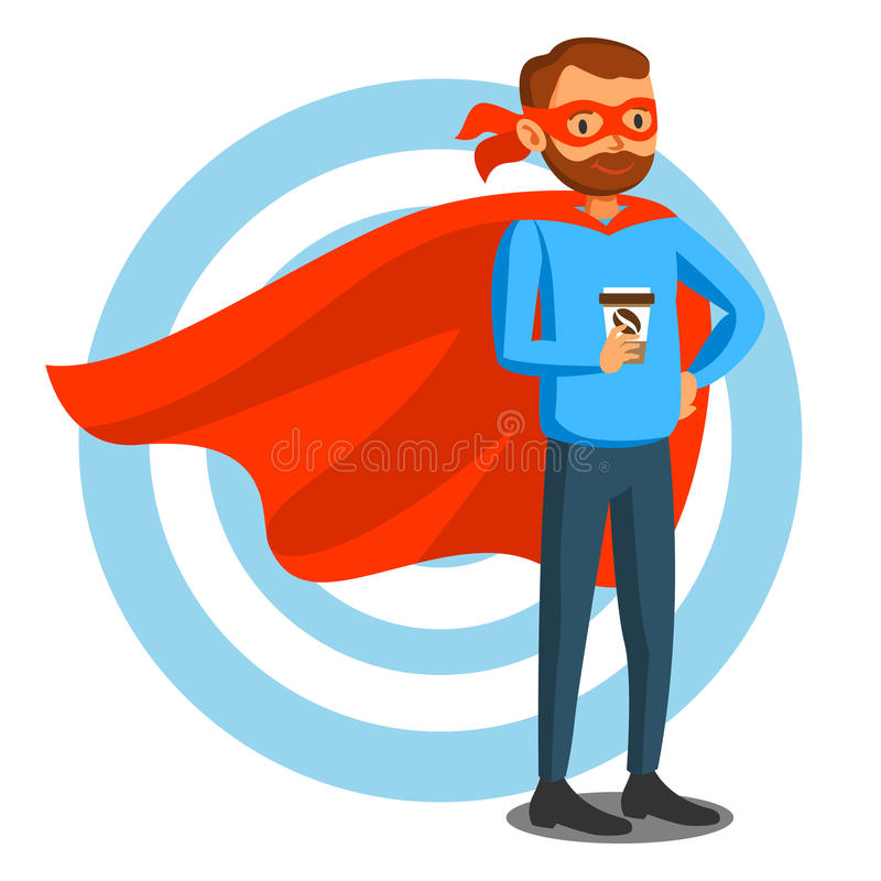 Tecknad filmsuperheroman i röd udde, manlig superhero, programmerare stock illustrationer