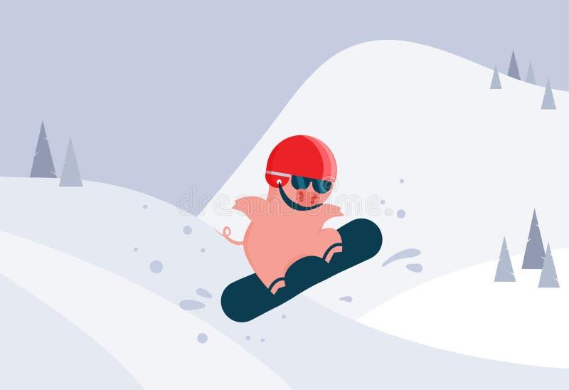 Tecknad filmsvin på snowboard, en maskering och hjälm Vinterplats och aktivitet för vintersport Svin som ett symbol av det nya år stock illustrationer
