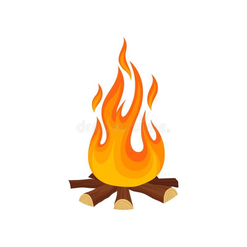 Tecknad filmsymbol av brasalägereld Trädjournaler och varm flamma lek Detaljerad plan vektorillustration vektor illustrationer