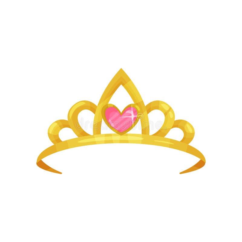 Tecknad filmsymbol av den skinande prinsessakronan med den dyrbara rosa färgstenen i form av hjärta Guld- forntida drottningtiara royaltyfri illustrationer