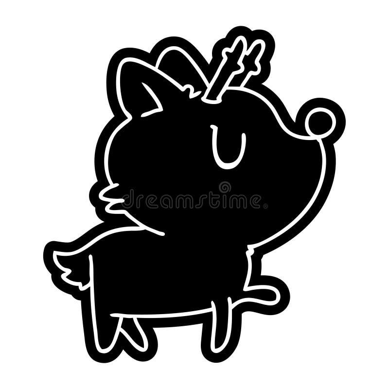 tecknad filmsymbol av gulliga hjortar f?r kawaii royaltyfri illustrationer