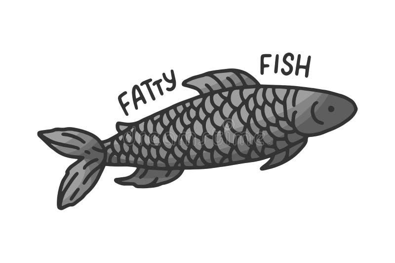 Tecknad filmsymbol p? den vita bakgrunden asiatisk kokkonst Sund livsstil Isolerad fettig fisk dietary mat royaltyfri illustrationer