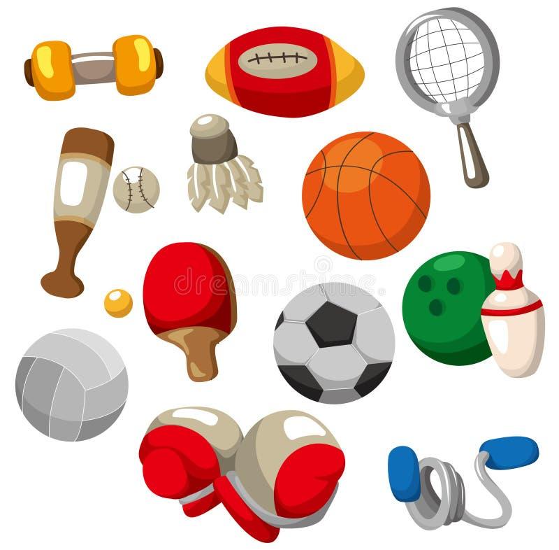 tecknad filmsymbolen objects sporten stock illustrationer