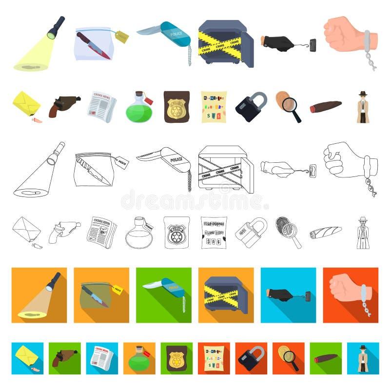 Tecknad filmsymboler för detektiv- byrå i uppsättningsamlingen för design Rengöringsduk för materiel för brott- och utredningvekt stock illustrationer