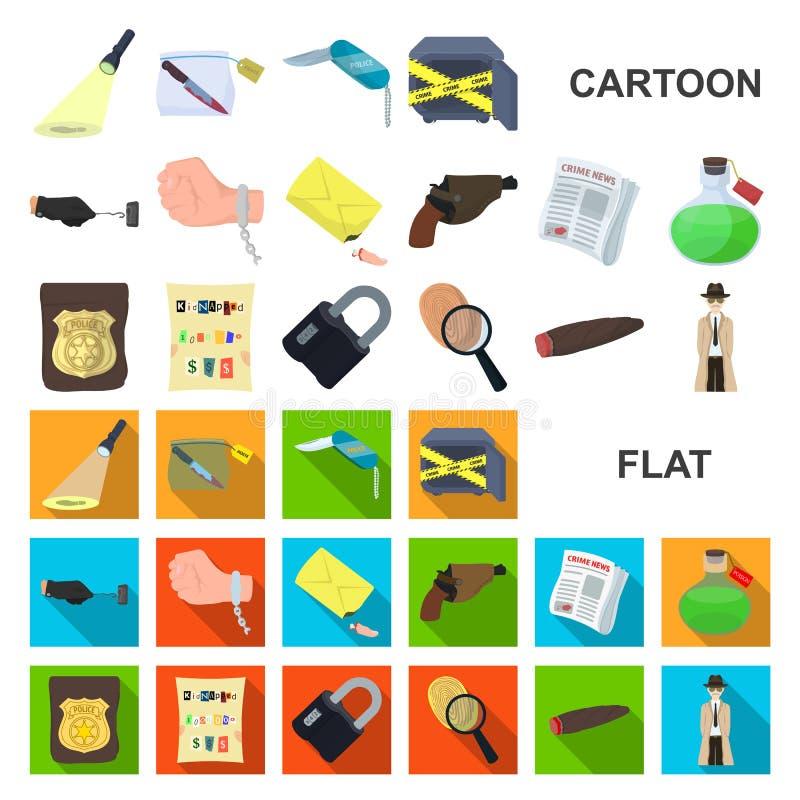 Tecknad filmsymboler för detektiv- byrå i uppsättningsamlingen för design Rengöringsduk för materiel för brott- och utredningvekt royaltyfri illustrationer