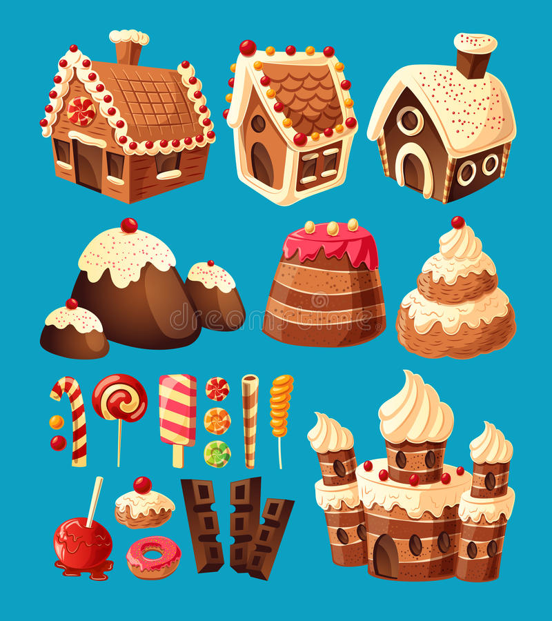 Tecknad filmsymboler för vektor 3D av sötsaker för modig design stock illustrationer