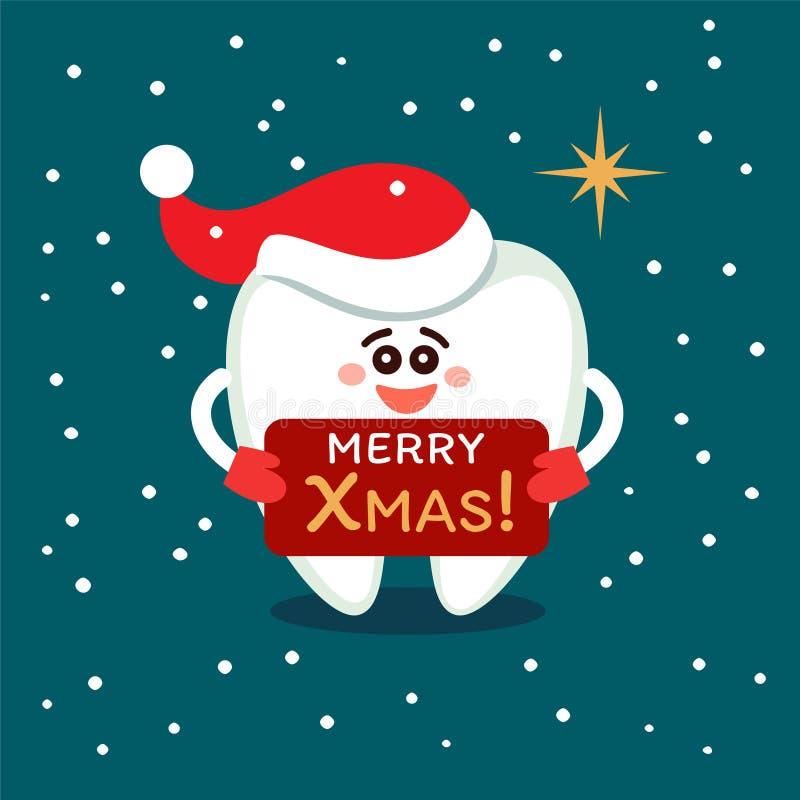 Tecknad filmtand i jultomtenhatt Glad jul från tandläkekonst royaltyfri illustrationer