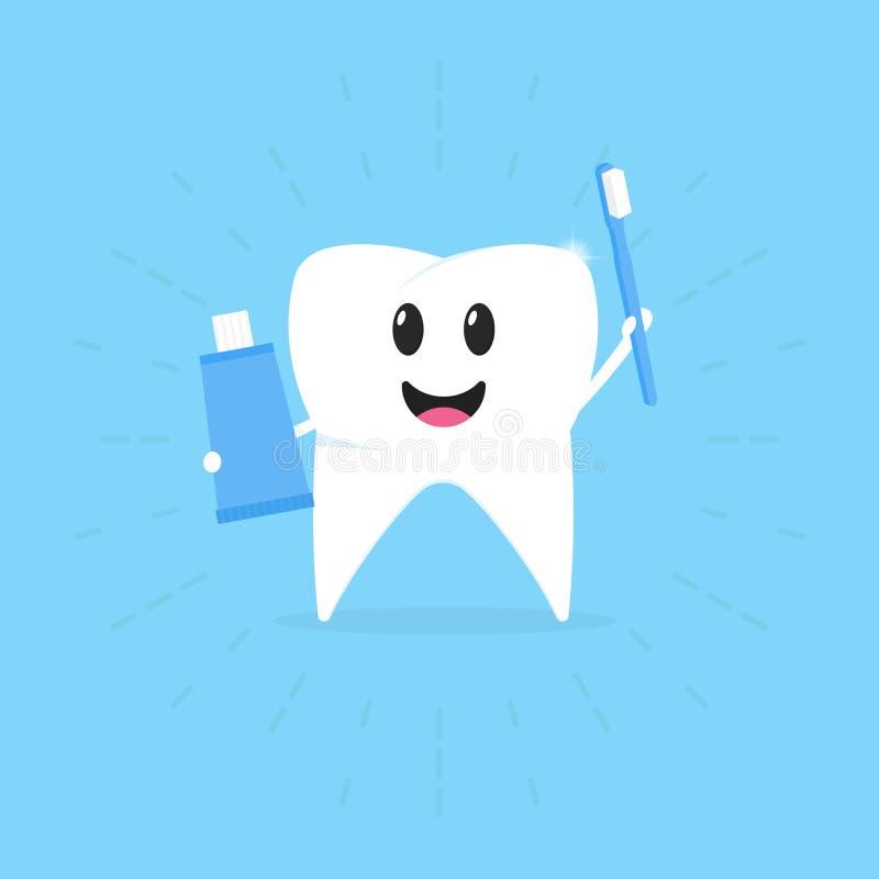 Tecknad filmtand med en tandborste och en deg i handen som ler, sunda tänder, vektorillustration royaltyfri illustrationer