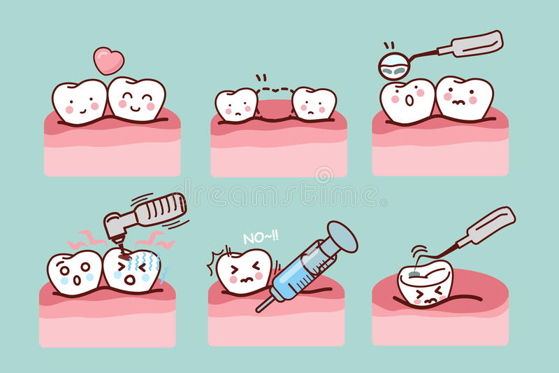 Tecknad filmtand med tand- utrustning stock illustrationer