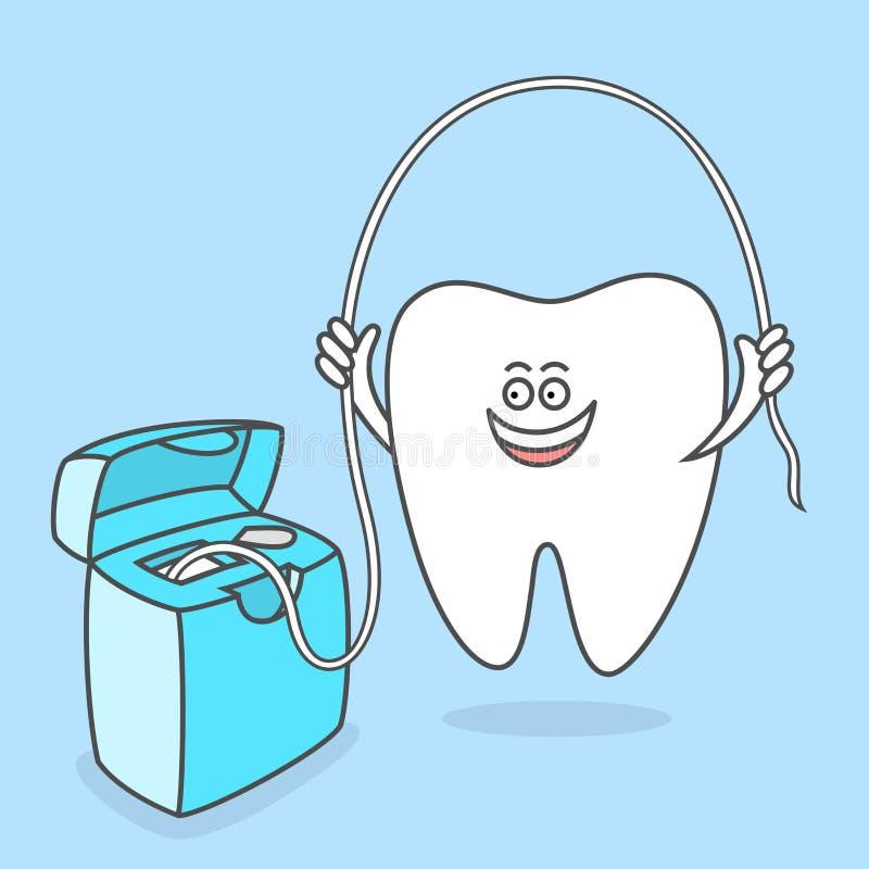 Tecknad filmtand med tandtråd Isolerat över vit bakgrund stock illustrationer