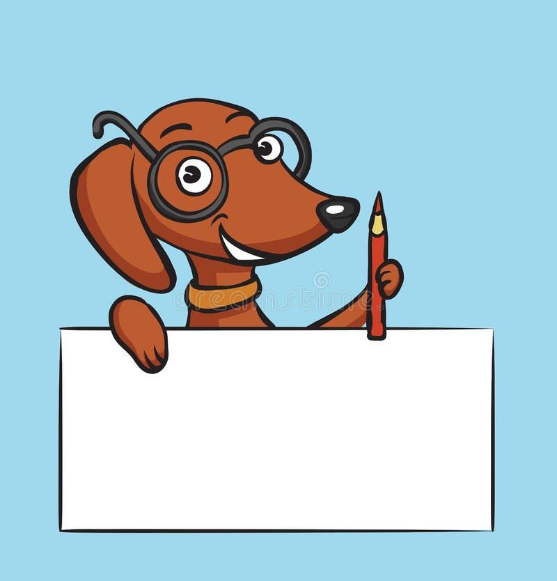 Tecknad filmtaxhund med blyertspennan och det tomma plakatet stock illustrationer