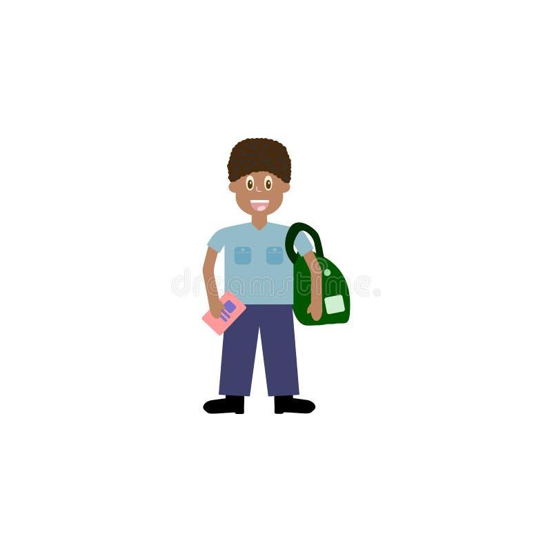 Tecknad filmtecken, afrikansk pojke med fingrar för en skolaaxelväskashow två som v-tecken , vektor eps10 stock illustrationer