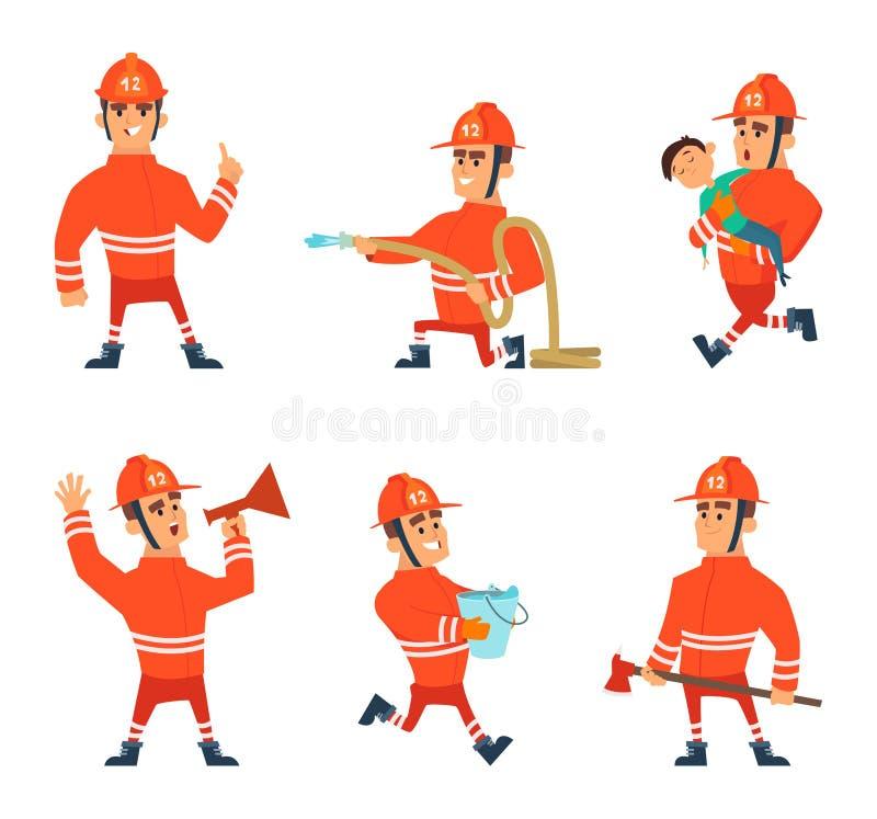 Tecknad filmtecken av brandmän i handling poserar stock illustrationer