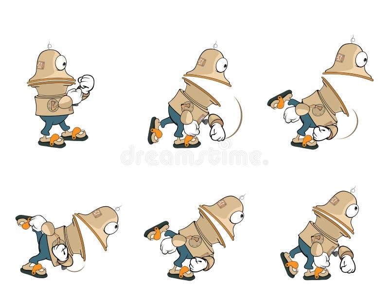 Tecknad filmtecken av en gullig robot för en dataspel stock illustrationer