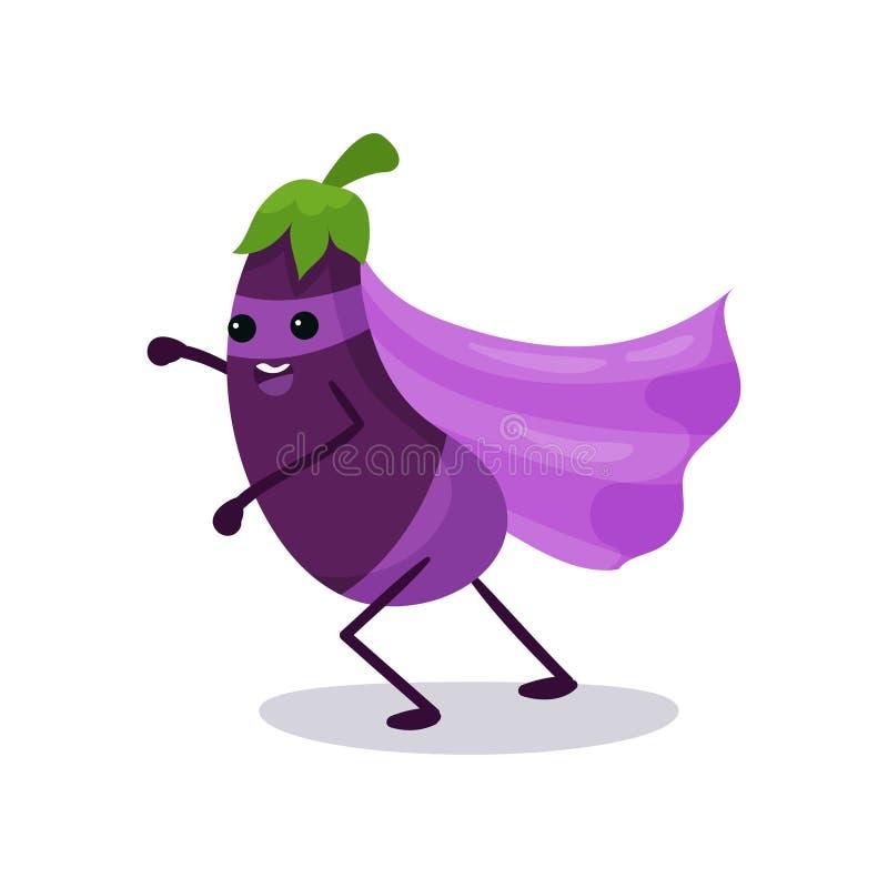 Tecknad filmtecken av purpurfärgad aubergine i den klassiska superherodräkten, kraftig fantastisk grönsak vektor illustrationer