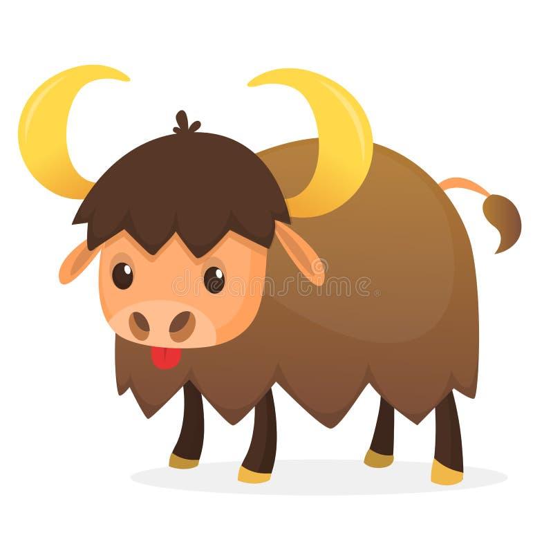 Tecknad filmtecken för amerikansk bison Stor vektor för bisonmanlägenhet som isoleras på vit Nordamerika faunor Buffelsymbol Djur vektor illustrationer