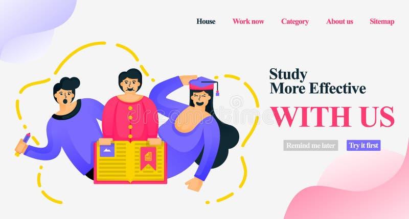 Tecknad filmtecken för att marknadsföra lärande websites Studien är effektivare med oss studenter som lämnar läroboken för mobil vektor illustrationer