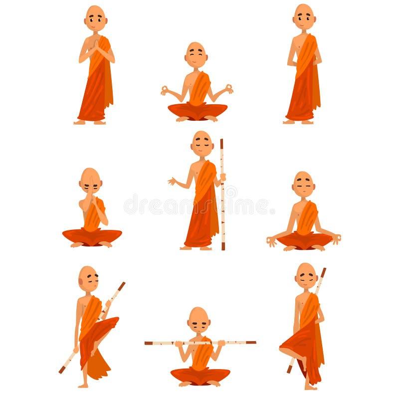 Tecknad filmtecken för buddistiska munkar i olikt poserar uppsättningen, munk i orange ämbetsdräkt och att be, att meditera som ö vektor illustrationer