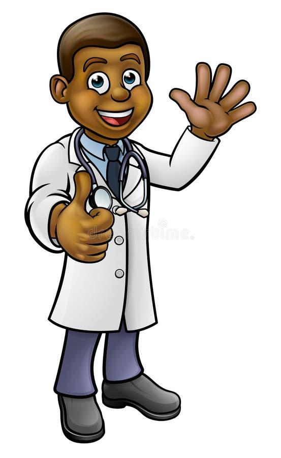 Tecknad filmtecken för doktor Giving Thumbs Up vektor illustrationer