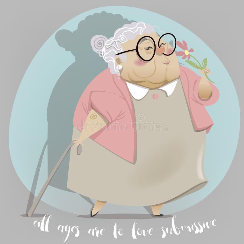 Tecknad filmtecken för gammal kvinna stock illustrationer