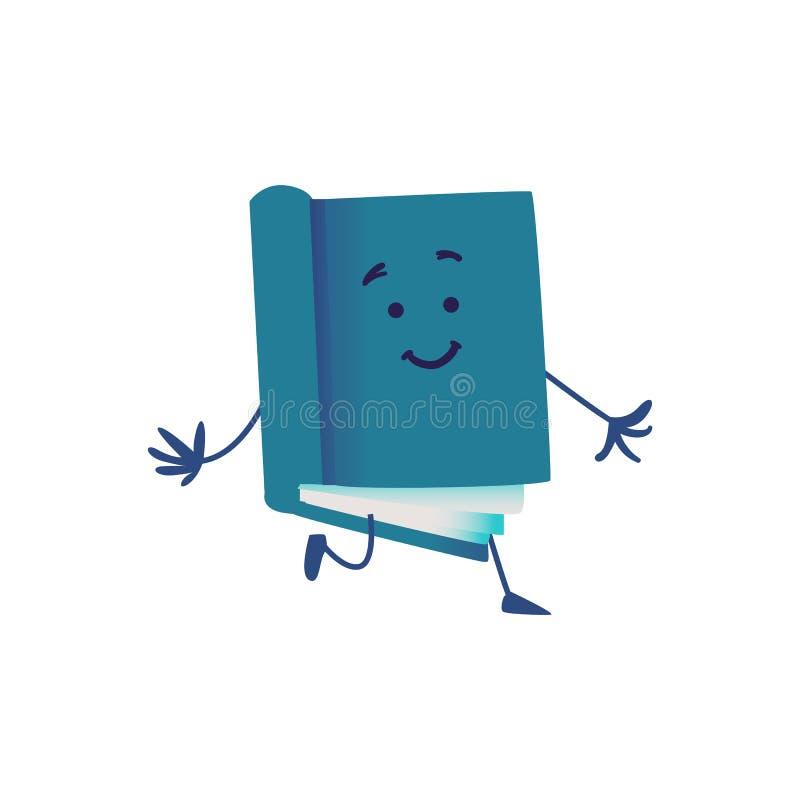 Tecknad filmtecken för rolig bok som kör framåt isolerat på vit bakgrund vektor illustrationer