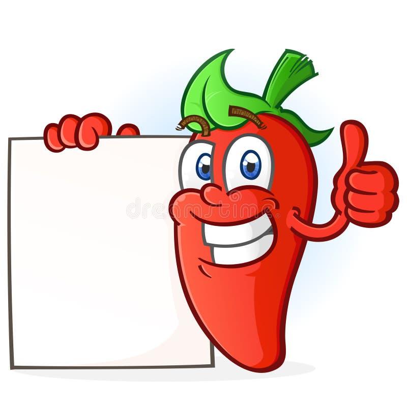 Tecknad filmtecken för varm peppar som rymmer ett tomt tecken stock illustrationer